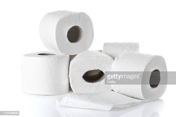 rolls of white toilet paper