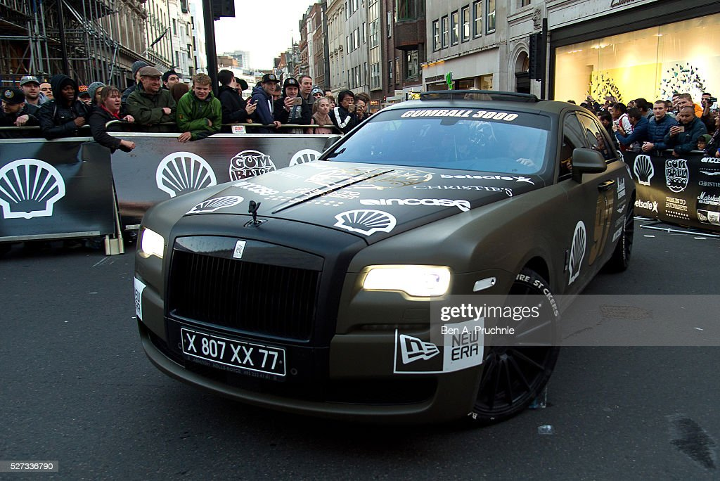Rolls Royce crosses the finish line as the Gumball Rally closes down Regent Street at Regent Street on May 3, 2016 in London, England.