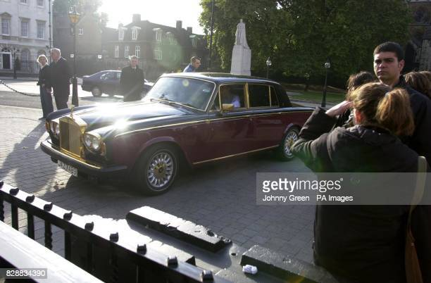 A Rolls Royce Silver Shadow II drives into Old Palace Yard in front of the Houses of Parliament in central London Vintage carowners gathered as part...