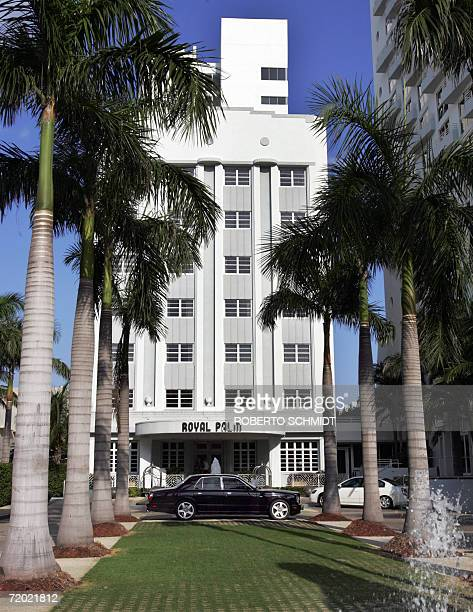 RollsRoyce automobile is parked in front of the renovated Art Deco Royal Palms apartment condominium in Miami Beach Florida 26 September 2006 The...