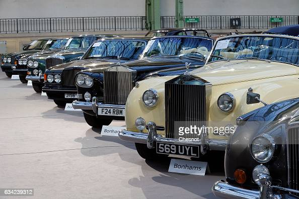 RollsRoyce models are displayed during a press preview before a mass auction of vintage vehicles organised by Bonhams auction house at the Grand...