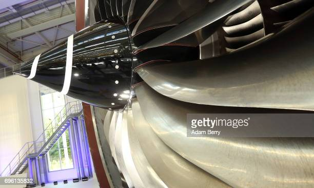 RollsRoyce Trent XWB airplane engine to be used in the Airbus A350 XWB aircraft is seen at the company's plant on June 14 2017 in Berlin Germany...