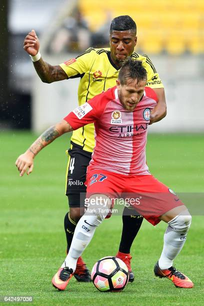 Roly Bonevacia from Wellington Phoenix and Fernando Brandan of Melbourne City during the round 20 ALeague match between the Wellington and Melbourne...