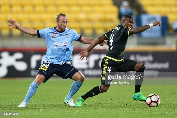 Roly Bonevacia of the Phoenix and Rhyan Grant of Sydney FC during the round 26 ALeague match between the Wellington Phoenix and Sydney FC at Westpac...