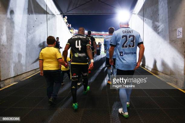 Roly Bonevacia of the Phoenix and Rhyan Grant of Sydney FC take the field during the round 26 ALeague match between the Wellington Phoenix and Sydney...