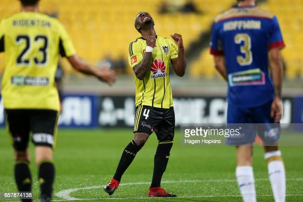 Roly Bonevacia of the Phoenix celebrates his goal during the round 24 ALeague match between Wellington Phoenix and Newcastle Jets at Westpac Stadium...
