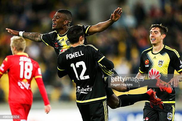 Roly Bonevacia of the Phoenix celebrates his goal with teammate Blake Powell during the round six ALeague match between the Wellington Phoenix and...