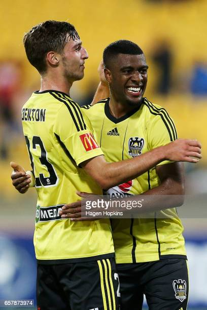 Roly Bonevacia of the Phoenix celebrates his goal with teammate Matthew Ridenton during the round 24 ALeague match between Wellington Phoenix and...