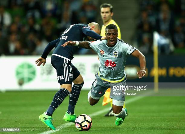 Roly Bonevacia of the Phoenix contests the ball during the round 25 ALeague match between the Melbourne Victory and the Wellington Phoenix at AAMI...