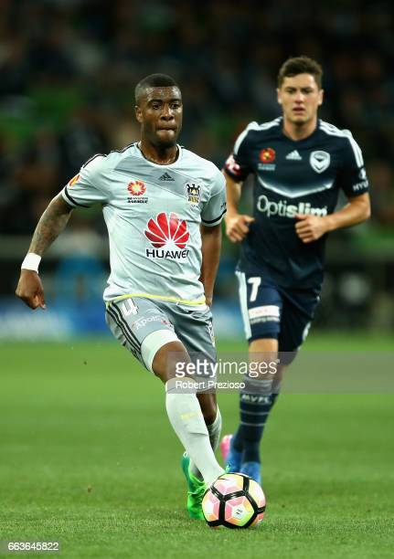 Roly Bonevacia of the Phoenix controls the ball during the round 25 ALeague match between the Melbourne Victory and the Wellington Phoenix at AAMI...