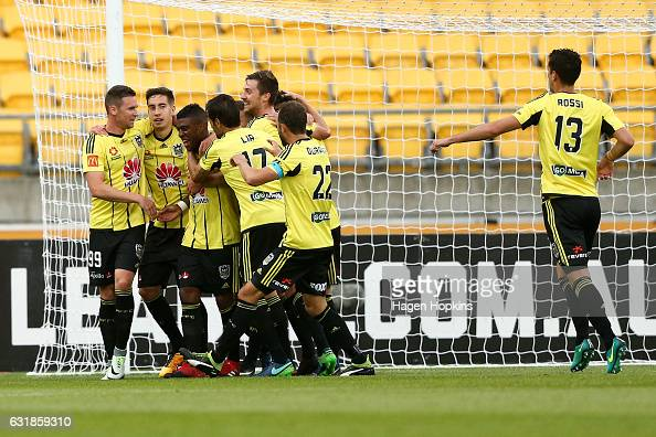 Roly Bonevacia of the Phoenix is congratulated on his goal during the round seven ALeague match between the Wellington Phoenix and the Melbourne...