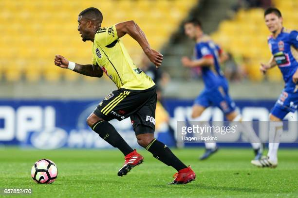 Roly Bonevacia of the Phoenix makes a break during the round 24 ALeague match between Wellington Phoenix and Newcastle Jets at Westpac Stadium on...