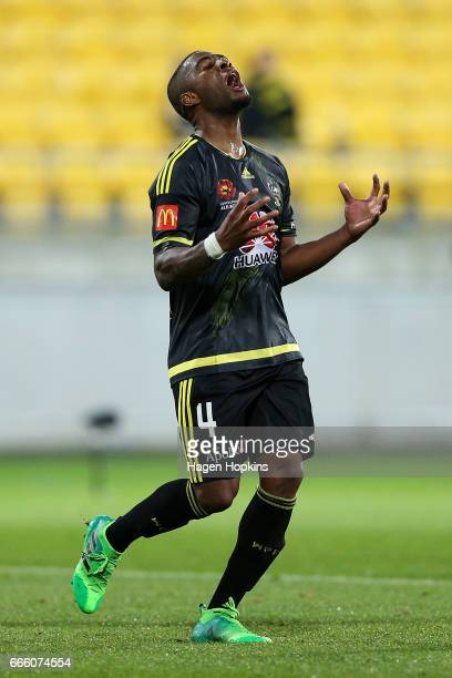 Roly Bonevacia of the Phoenix reacts after a missed opportunity during the round 26 ALeague match between the Wellington Phoenix and Sydney FC at...