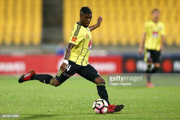 Roly Bonevacia of the Phoenix takes a shot at goal during the round 20 ALeague match between the Wellington Phoenix and Melbourne City at Westpac...