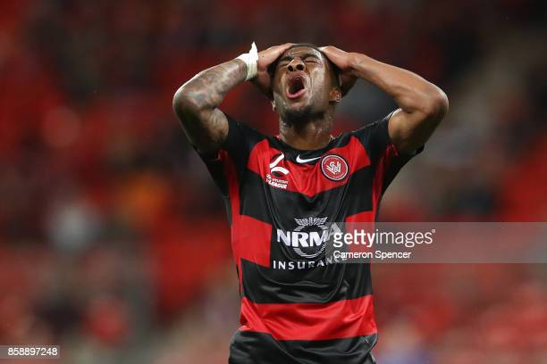 Roly Bonevacia of the Wanderers reacts to a shot at goal during the round one ALeague match between the Western Sydney Wanderers and the Perth Glory...