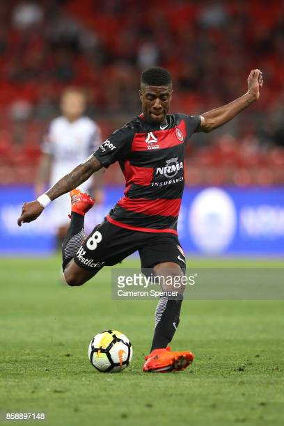 Roly Bonevacia of the Wanderers takes a shot at goal during the round one ALeague match between the Western Sydney Wanderers and the Perth Glory at...