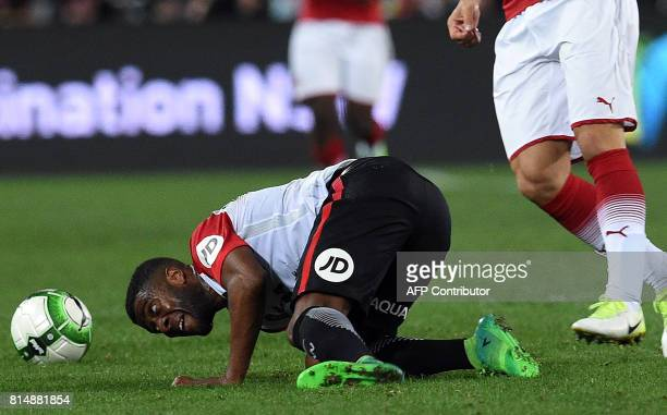 Roly Bonevacia of Western Sydney Wanderers falls on the ground in an effort to control the ball during a preseason football friendly against Arsenal...