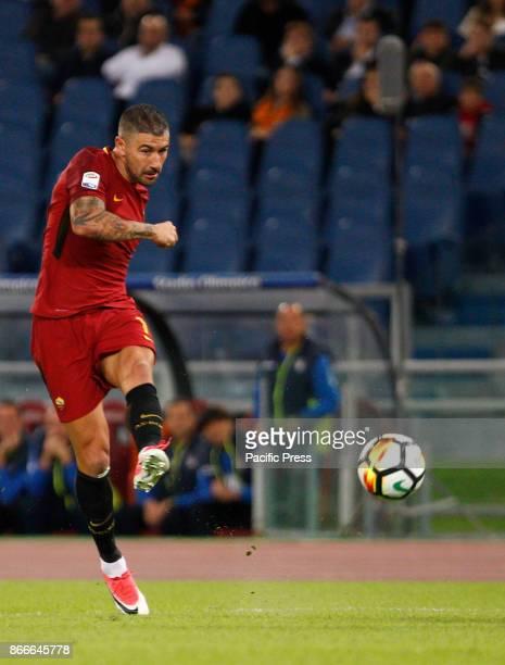 Roma Aleksandar Kolarov kicks the ball during the Serie A soccer match between Roma and Crotone at the Olympic stadium