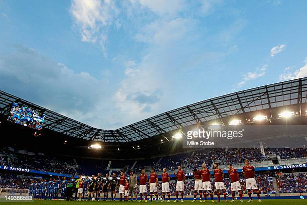 Roma and El Salvador look on during pregame ceremonies during a International Friendly at Red Bull Arena on July 27 2012 in Harrison New Jersey