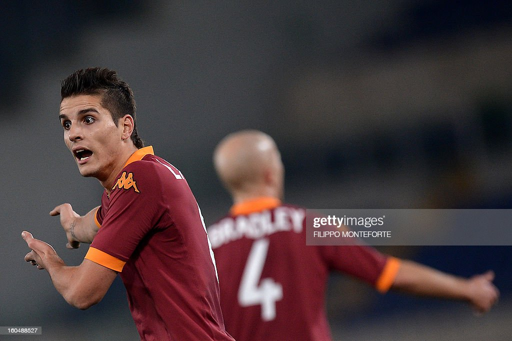 AS Roma Argentine forward Erik Lamela reacts against Cagliari during the Serie A football match AS Roma vs Cagliari in Rome's Olympic Stadium on February 1, 2013.