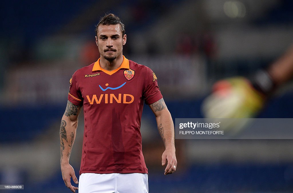 AS Roma Argentine forward Pablo Daniel Osvaldo reacts against Cagliari after losing 4-2during the Serie A football match AS Roma vs Cagliari in Rome's Olympic Stadium on Febuary 1, 2013.