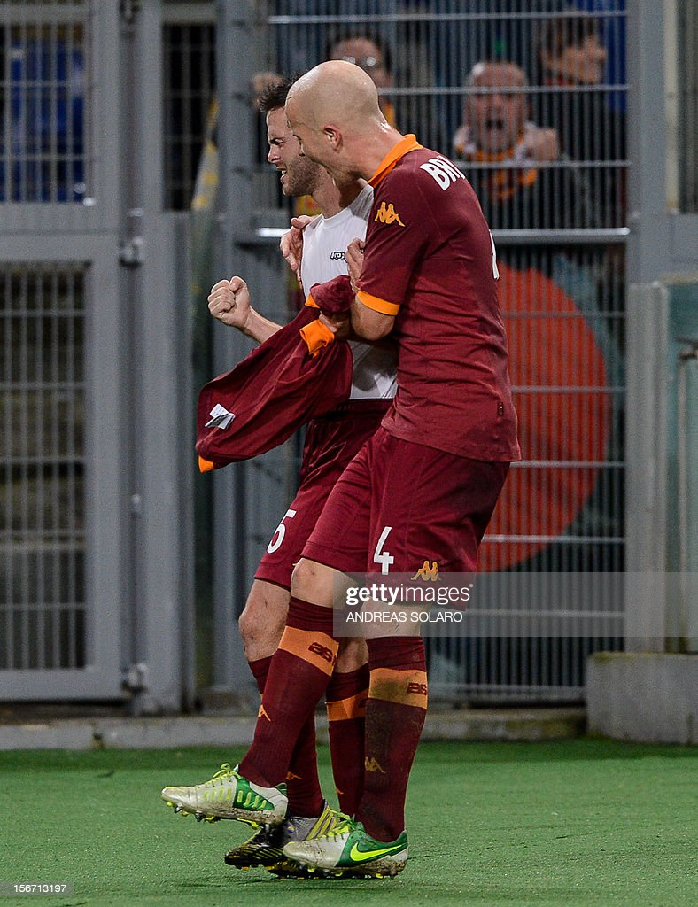 AS Roma Bosnian midfielder Miralem Pjanic (L) celebrates with his team mate Michael Bradley after scoring during their Italian Serie A football match opposing AS Roma to Torino on November 19, 2012 at Rome's Olympic stadium.