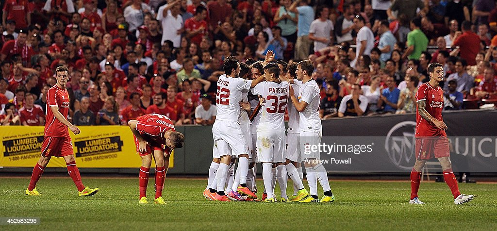 AS Roma celebrates after scoring a goal during the pre-season friendly match between Liverpool FC and AS Roma at Fenway Park on July 23, 2014 in Boston, Massachusetts.