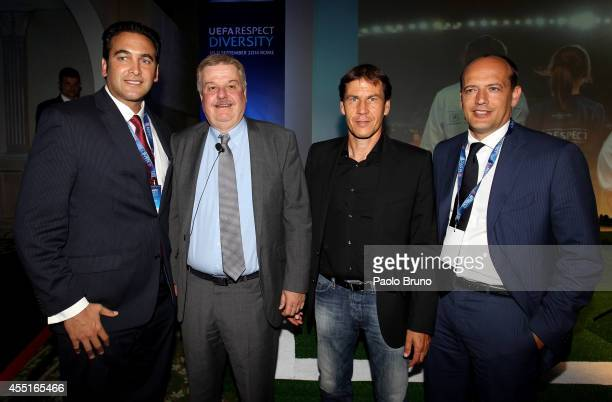 AS Roma CEO Italo Zanzi UEFA Advisor William Gaillard AS Roma head coach Rudi Garcia and General Director Mauro Baldissoni pose during the UEFA...