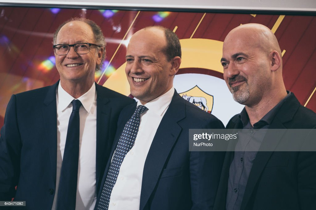 """AS Roma CEO Mauro Baldissoni (C) pose with the ex player fo As Rome, Paulo Roberto Falcao (L) at the end of presentation documentary """"Tell me who's Falcao"""", at the As Roma center in Trigoria, Rome, Italy, on 23 February 2017"""