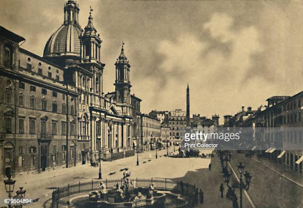 Roma Circo Agonale Church of St Agnes Fontains by Bernini' 1910 From Cento Vedute Classiche di Roma [Enrico Verdesi Rome 1910] Artist Unknown