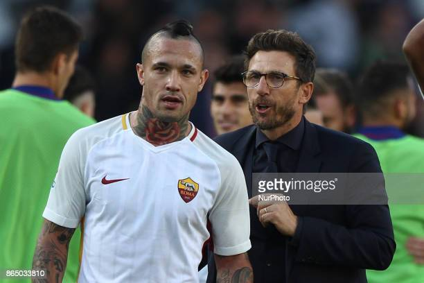 Roma coach Eusebio Di Francesco and Roma midfielder Radja Nainggolan after the Serie A football match n9 TORINO ROMA on at the Stadio Olimpico Grande...