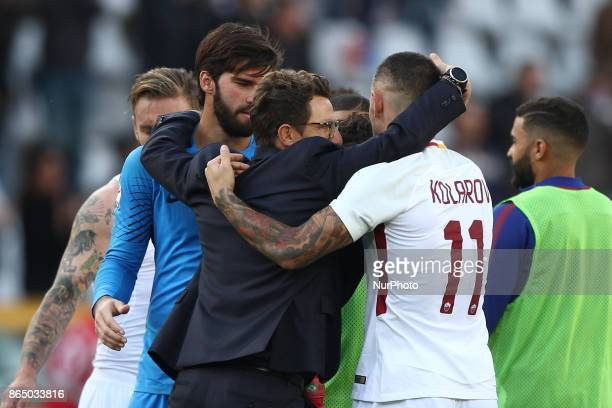 Roma coach Eusebio Di Francesco celebrates victory with Roma defender Aleksandar Kolarov and Roma goalkeeper Alisson during the Serie A football...