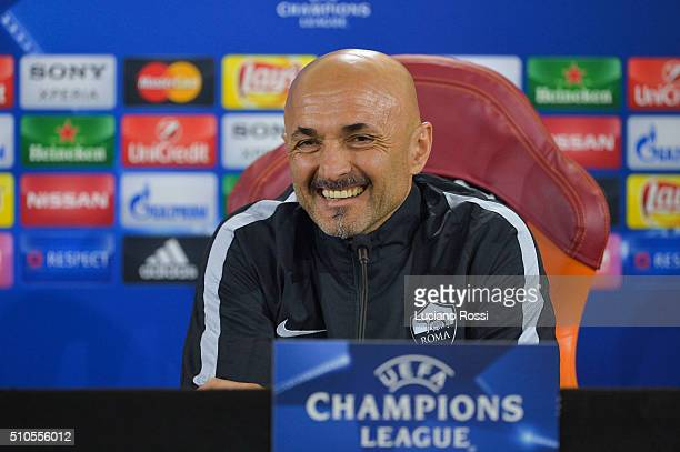 Roma coach Luciano Spalletti attends a press conference on February 16 2016 in Rome Italy