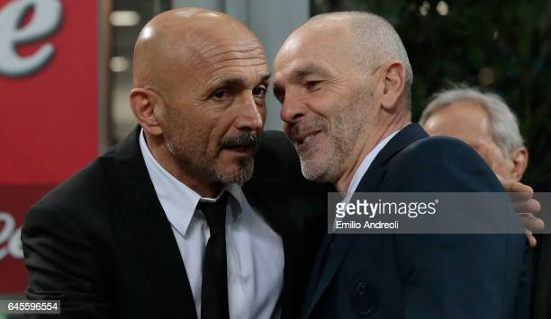 Roma coach Luciano Spalletti greets FC Internazionale Milano coach Stefano Pioli before the Serie A match between FC Internazionale and AS Roma at...