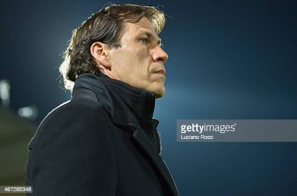 Roma coach Rudi Garcia during the Serie A match between AC Cesena and AS Roma at Dino Manuzzi Stadium on March 22 2015 in Cesena Italy
