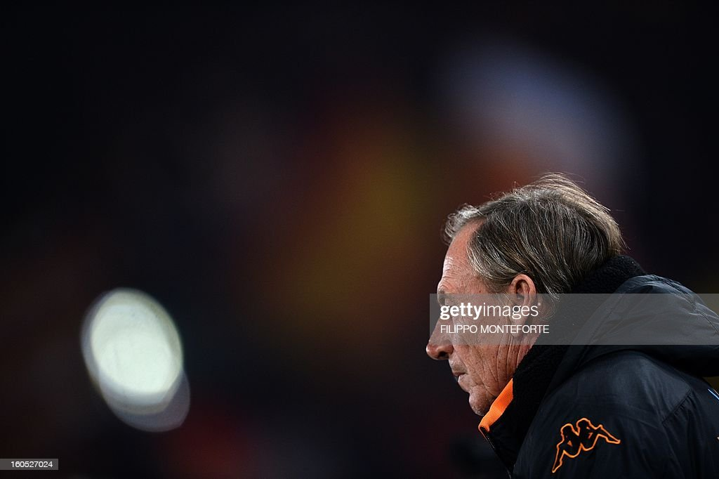 AS Roma coach Zdenek Zeman looks on before the Serie A football match against Cagliari in Rome's Olympic Stadium on Febuary 1, 2013.