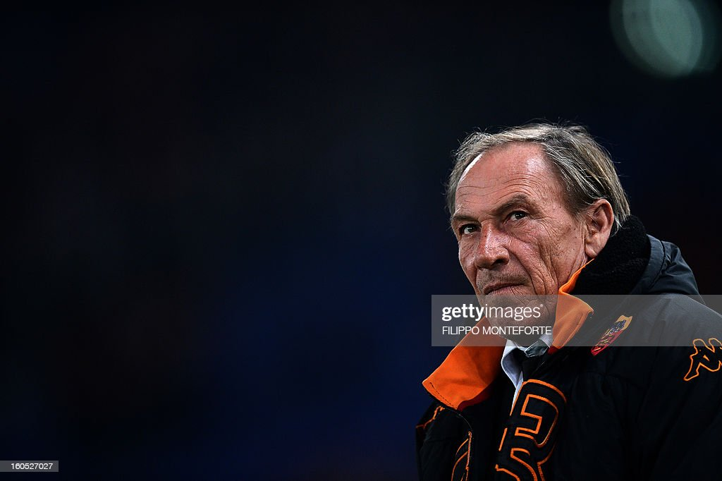 AS Roma coach Zdenek Zeman looks on before the Serie A football match against Cagliari in Rome's Olympic Stadium on Febuary 1, 2013. AFP PHOTO / FILIPPO MONTEFORTE