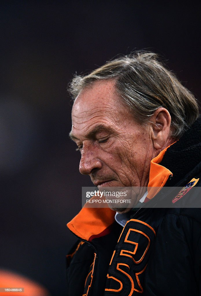 AS Roma coach Zdenek Zeman react against Cagliari during the Serie A football match AS Roma vs Cagliari in Rome's Olympic Stadium on Febuary 1, 2013.