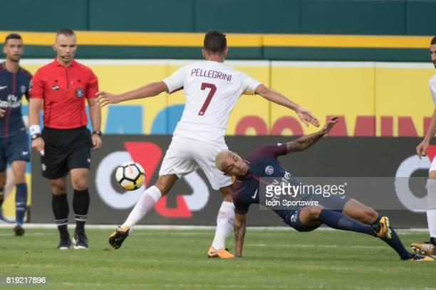 Roma D Luca Pellegrini and Paris SaintGermain D Layvin Kurzawa battle during the International Champions Cup match between AS Roma and Paris...