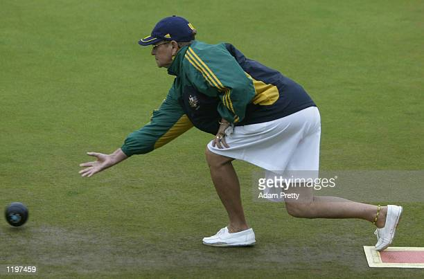 Roma Dunn of Australia in action during the Women's Pairs Quarter Final in Lawn Bowls at the Heaton Park during the 2002 Commonwealth Games in...