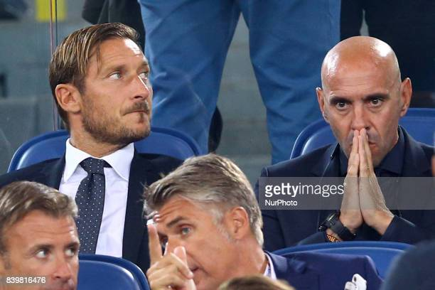 Roma executive Francesco Totti with the Sportive Director Ramon Rodriguez Verdejo commonly known as Monchi during the Serie A match between AS Roma...