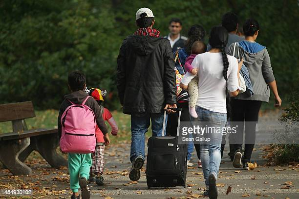 Roma family from Romania arrive at the Berlin Central Reception Facility for Asylum Seekers in German Zentrale Aufnahmeeinrichtung des Landes Berlin...