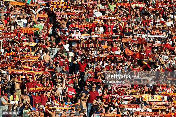 Roma fans during the Serie A match between AS Roma and Juventus FC at Stadio Olimpico on August 30 2015 in Rome Italy