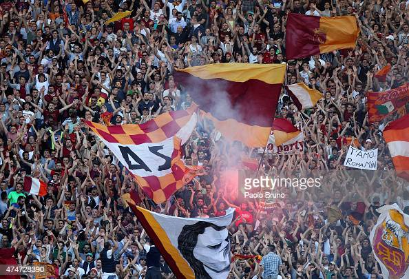 Roma fans during the Serie A match between SS Lazio and AS Roma at Stadio Olimpico on May 25 2015 in Rome Italy