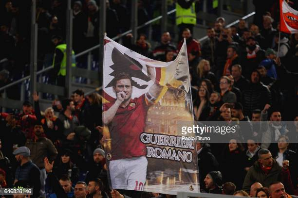 Roma fans during the TIM Cup match between SS Lazio and AS Roma at Olimpico Stadium on March 1 2017 in Rome Italy