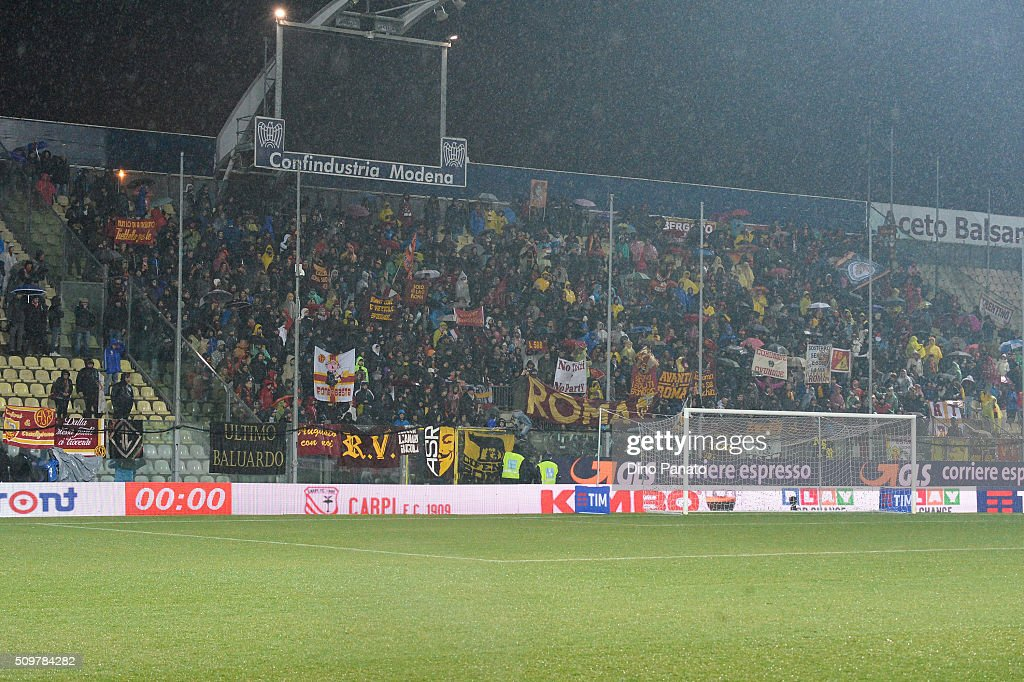 Roma fans shows their support during the Serie A match between Carpi FC and AS Roma at Alberto Braglia Stadium on February 12, 2016 in Modena, Italy.