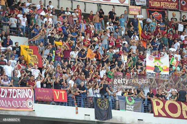 Roma fans shows their support during the Serie A match between Hellas Verona FC and AS Roma at Stadio Marc'Antonio Bentegodi on August 22 2015 in...