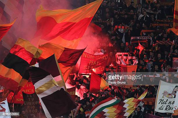 Roma fans support their team during the Serie A match between AS Roma and AC Cesena at Stadio Olimpico on October 29 2014 in Rome Italy