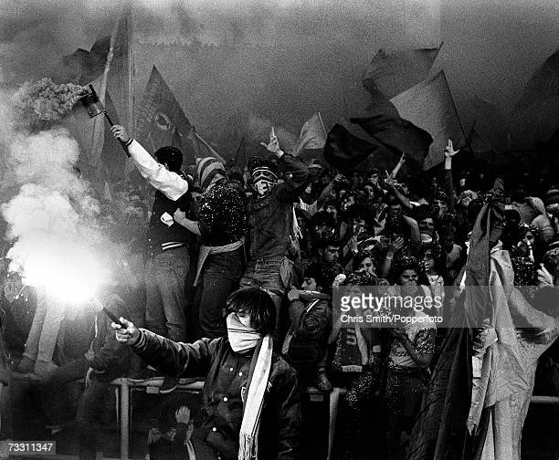 Roma fans with flags and flares during the 1984 European Cup Final against Liverpool at the Stadio Olimpico in Rome 30th May 1984 Liverpool won the...
