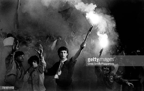 Roma fans with flares during the 1984 European Cup Final against Liverpool at the Stadio Olimpico in Rome 30th May 1984 Liverpool won the match on...